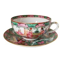 Rose Medallion Cup & Saucer Decorated in Hong Kong by Japan Porcelain