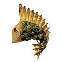 Vintage Signed BSK Goldtone Fish Pin