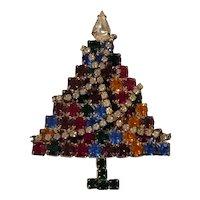 Vintage Christmas Tree Pin Prong Set Rhinestones