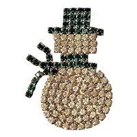 Vintage Snowman Pin Prong Set Rhinestones Unsigned
