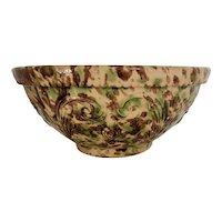 Antique Morton Pottery Stoneware Splatter Glaze Embossed Plume Mixing Bowl