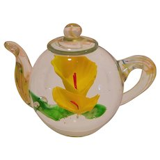 Vintage Glass Paperweight Teapot