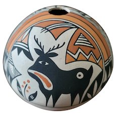 Signed Yolanda Trujillo Acoma Pueblo Pottery Seed Pot