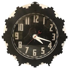 Advertising Clock with Aztec Motif by Electric Neon Clock Co.