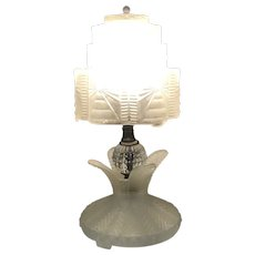 Rene Lalique Frosted Glass Skyscraper Lamp