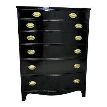 Black Lacquered Henredon 6 drawer Highboy dresser