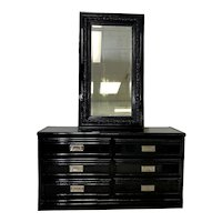 Black Lacquered 6 Drawer Campaign Style Dresser