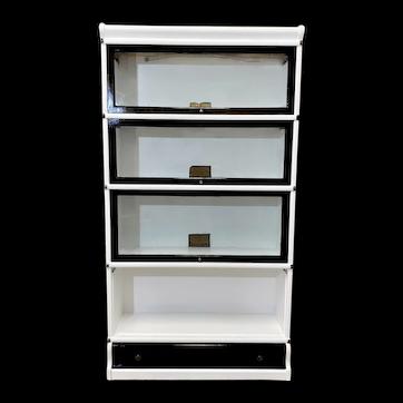 White Lacquered Hale Barrister Globe Wernicke Bookcase