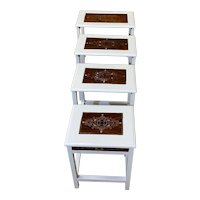 4 Piece White Lacquer Nesting Table Set