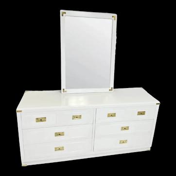 Dixie White Lacquered Campaign Dresser & Mirror Set