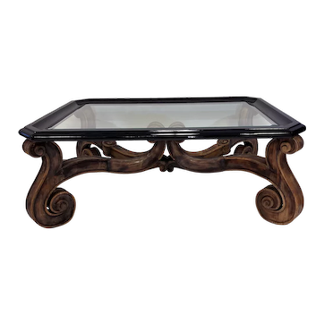 Carved Mahogany Glass Top Coffee Table