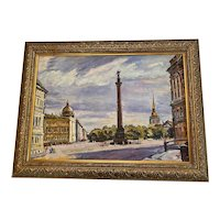 """1990's Russian Oil on Canvas Cityscape """"St. Petersburg Square"""" by Russian Artist Sergey Inkov"""