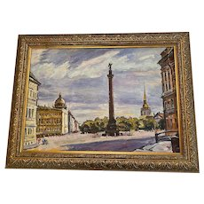 "1990's Russian Oil on Canvas Cityscape ""St. Petersburg Square"" by Russian Artist Sergey Inkov"