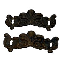 Vintage French Bronze Brass Drawer Pull Back Plates - Pair
