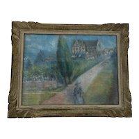 "1940's French Pastel on Board Landscape ""Rouge Orangerie"" Signed"