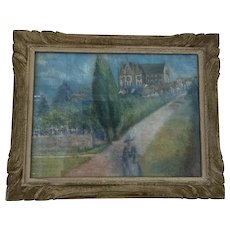 "1940's French Pastel on Board Landscape ""Rouge Orangerie"" Signed"