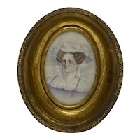 Antique English Brass & Tin Oval Photo Frame with Convex Glass