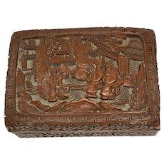 Vintage Estate Chinese Carved Cinnabar Trinket Box
