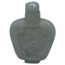 Vintage Carved Thailand Jade Incense Snuff Bottle With Cap