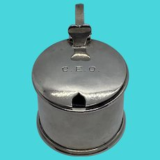 English Sterling Mustard Pot with Cobalt Insert and Monogram