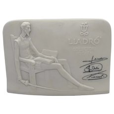 """1985 Lladro Collector's Society """"Don Quixote"""" Signed Porcelain Display Plaque"""