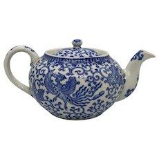 """1950's Japan Blue and White Porcelain """"Phoenix"""""""" Design Tea Pot"""