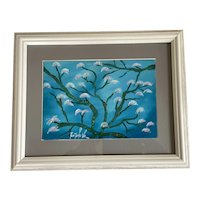 """Contemporary Ecuadorian Framed Oil On Board """"Arupo Tree in Bloom"""" - Signed by Artist"""