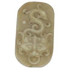 Vintage Asian Carved Soapstone Dragon Motif Scarf Slide