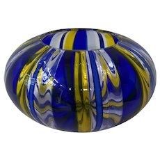 Estate Sent Murano Blue and Yellow Glass Decorative Centerpiece Bowl