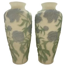 Mid-Century Hand Painted Milk Glass Peony Vases - A Pair