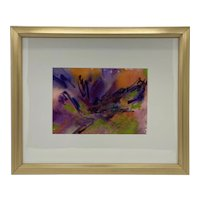 """Contemporary Framed Abstract Watercolor on Paper """"Flight"""" by Maryland Artist Colleen Sabo"""