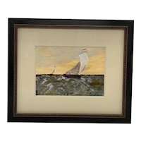 """Contemporary French """"Sailing On The High Seas"""" Oil on Board Painting, Framed"""