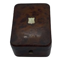 1930's English Wood and Brass Watch Holder with Mother of Pearl Insert