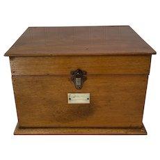 1920s British Pine Document Keepsake Box with Metal Latch
