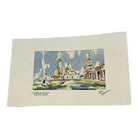 """Contemporary Small Watercolor On Paper """"Venezia"""" Artist Signed"""