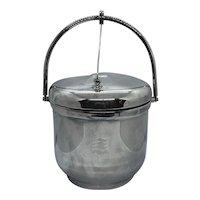 Sheffield Silver Plate Lidded Ice Bucket With Milk Glass Insert