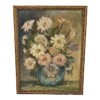 """1940's Oil on Board """"Floral Study"""" Signed K. Heald"""