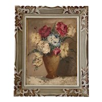 """Mid 20th Century Framed French Oil on Canvas """"Floral Study"""""""
