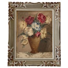 "Mid 20th Century Framed French Oil on Canvas ""Floral Study"""