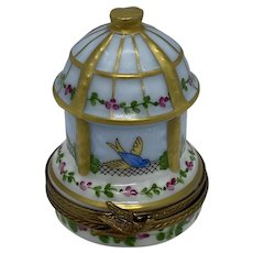 "Limoges France Porcelain Hand Painted ""Birds In A Gazebo"" Trinket Box"