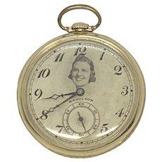 1921 Hamilton Open Faced 10k Rolled Gold Pocket Watch Model 914