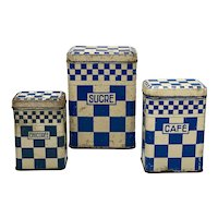 1930's French Country Blue & White Checked Kitchen Tins - Set of Three