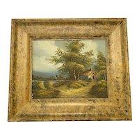 Vintage Signed Irene Cafieri Original Autumnal Landscaoe Oil On Canvas Painting