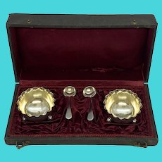 Antique German .800 Silver Salts with Spoons in Box - A Pair