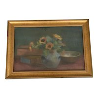 """Early 20th Century French Pastel on Board """"Still Life Study"""" Artist Signed"""
