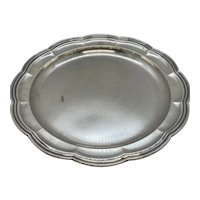 """1870's Tiffany & Company 12"""" Round Silver-Soldered-EP Scalloped Serving Platter Tray with Monogram"""