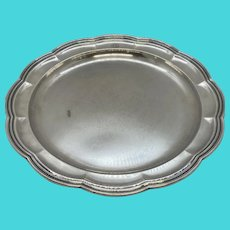 "1870's Tiffany & Company 12"" Round Silver-Soldered-EP Scalloped Serving Platter Tray with Monogram"