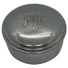 "Vintage EMPIRE Pewter 700 Blue Velvet Hollowware 3.25"" Round Jewelry Trinket Box"