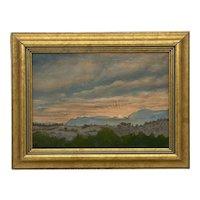 "Mid-Century Small Oil on Board Landscape ""Sunrise"" Signed A. Sandron"