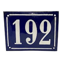 Mid 20th Century French Blue & White Enamel on Metal House Plaque #192